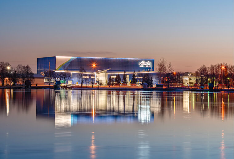 Exterior picture at dusk of the Alaska Airlines Maintenance & Operations Facility