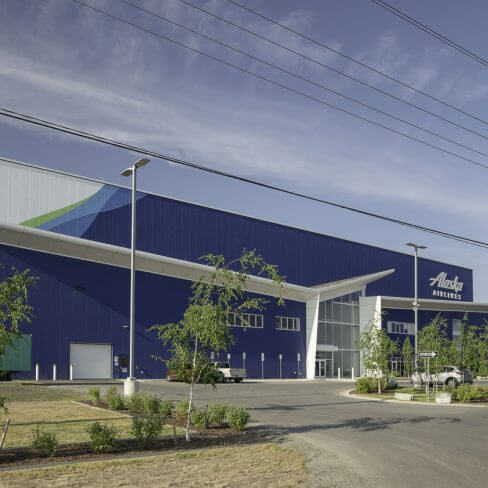 Exterior of Alaska Airlines Maintenance & Operations Facility