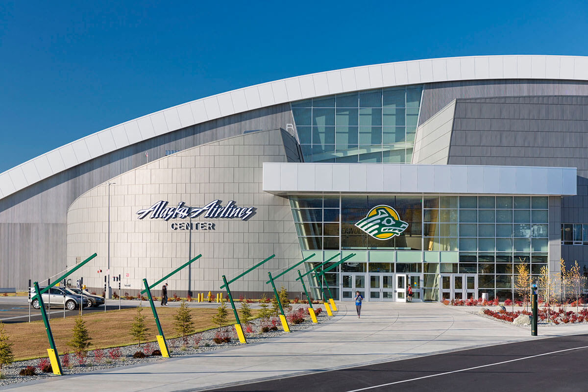 Exterior view of entrance of the Gallery inside of the UAA Alaska Airlines Center
