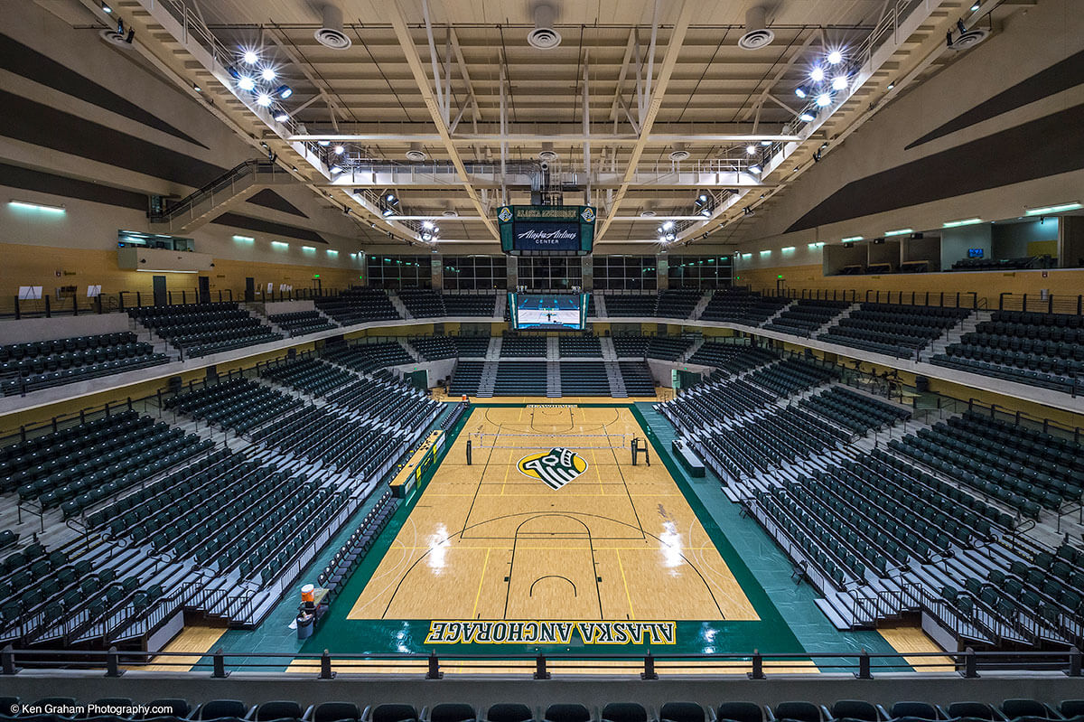 Basketball court inside of the UAA Alaska Airlines Center